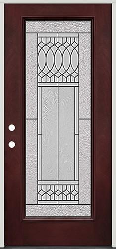 Full Lite Pre-finished Mahogany Fiberglass Prehung Door Unit #1079