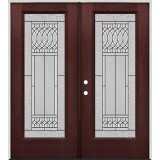 Full Lite Pre-finished Mahogany Fiberglass Prehung Double Door Unit #1079