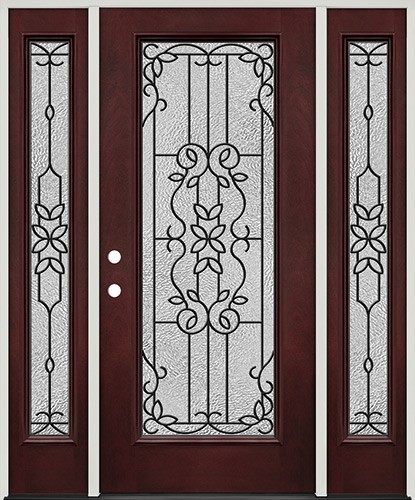 Full Lite Pre-finished Mahogany Fiberglass Prehung Door Unit with Sidelites #1080