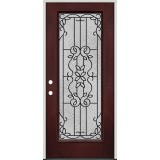 Full Lite Pre-finished Mahogany Fiberglass Prehung Door Unit #1080