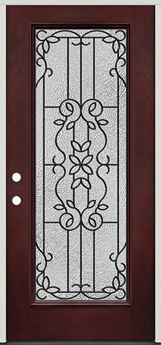 Full Lite Pre-finished Mahogany Fiberglass Prehung Door Unit #1080