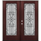 Full Lite Pre-finished Mahogany Fiberglass Prehung Double Door Unit #1080