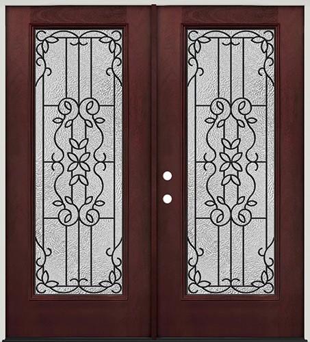 Full Lite Pre-finished Mahogany Fiberglass Prehung Double Door Unit #1080