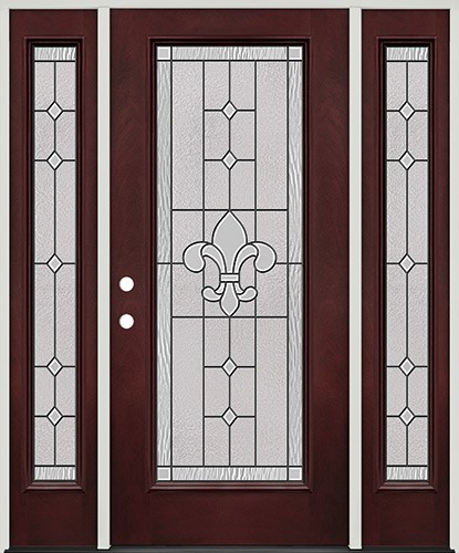 Full Lite Pre-finished Mahogany Fiberglass Prehung Door Unit with Sidelites #1081