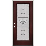 Full Lite Pre-finished Mahogany Fiberglass Prehung Door Unit #1081
