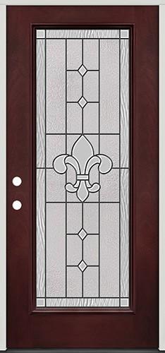 Full Lite Pre-finished Mahogany Fiberglass Prehung Door Unit #1081