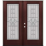 Full Lite Pre-finished Mahogany Fiberglass Prehung Double Door Unit #1081