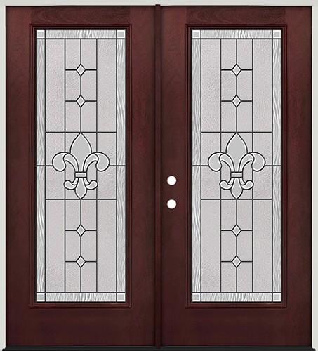 Full Lite Pre-finished Mahogany Fiberglass Prehung Double Door Unit #1081