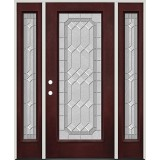 Full Lite Pre-finished Mahogany Fiberglass Prehung Door Unit with Sidelites #1082