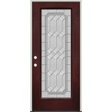 Full Lite Pre-finished Mahogany Fiberglass Prehung Door Unit #1082