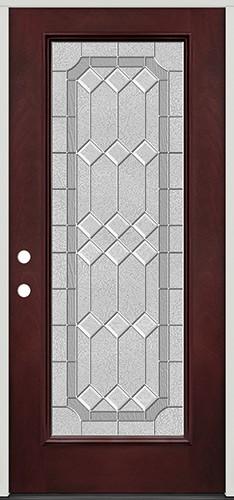Full Lite Pre-finished Mahogany Fiberglass Prehung Door Unit #1082