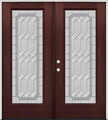 Full Lite Pre-finished Mahogany Fiberglass Prehung Double Door Unit #1082