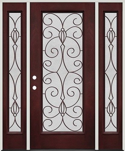 Full Lite Pre-finished Mahogany Fiberglass Prehung Door Unit with Sidelites #1083