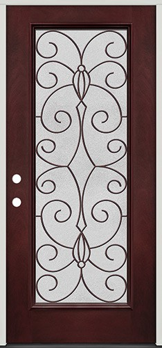 Full Lite Pre-finished Mahogany Fiberglass Prehung Door Unit #1083