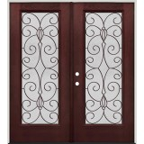 Full Lite Pre-finished Mahogany Fiberglass Prehung Double Door Unit #1083