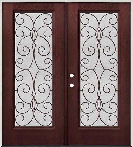 Full Lite Pre-finished Mahogany Fiberglass Prehung Double Door Unit #1083