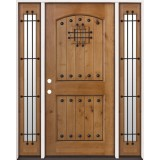 Rustic Knotty Alder Prehung Wood Door Unit with Sidelites #2008