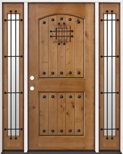 Rustic Knotty Alder Prehung Wood Door Unit with Sidelites #2008