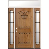 Rustic Knotty Alder Prehung Wood Door Unit with Transom #2008