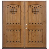Rustic Knotty Alder Prehung Double Wood Door Unit #2008