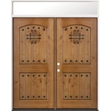 Rustic Knotty Alder Prehung Wood Double Door Unit with Transom #2008