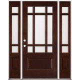 9-Lite Mahogany Prehung Wood Door Unit with Sidelites #2014
