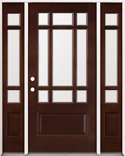 9-Lite Mahogany Prehung Wood Door Unit with Sidelites #2014