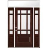 9-Lite Mahogany Prehung Wood Door Unit with Transom #2014