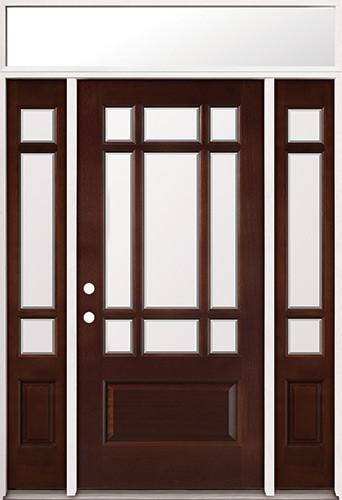 9-Lite Mahogany Prehung Wood Door Unit with Transom #2014