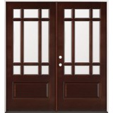9-Lite Mahogany Prehung Double Wood Door Unit #2014