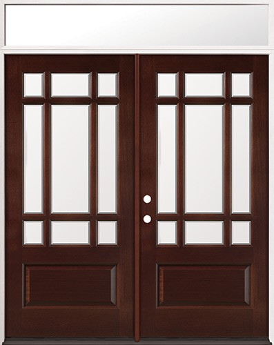 9-Lite Craftsman Mahogany Prehung Wood Double Door Unit with Transom #2014