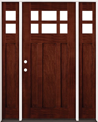 6-Lite Craftsman Mahogany Prehung Wood Door Unit with Sidelites #2017