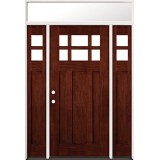 6-Lite Craftsman Mahogany Prehung Wood Door Unit with Transom #2017