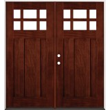 6-Lite Craftsman Mahogany Prehung Double Wood Door Unit #2017