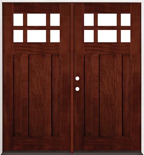 6-Lite Craftsman Mahogany Prehung Double Wood Door Unit #2017