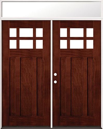 6-Lite Craftsman Mahogany Prehung Wood Double Door Unit with Transom #2017