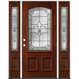 Fleur-De-Lis 3/4 Arch Mahogany Prehung Wood Door Unit with Sidelites #2020