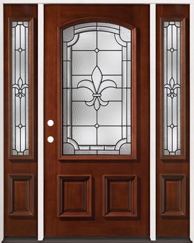 Fleur-De-Lis 3/4 Arch Mahogany Prehung Wood Door Unit with Sidelites #2020
