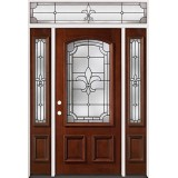 Fleur-De-Lis 3/4 Arch Mahogany Prehung Wood Door Unit with Transom #2020