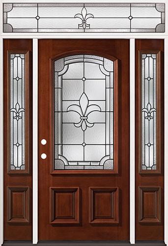 Fleur-De-Lis 3/4 Arch Mahogany Prehung Wood Door Unit with Transom #2020