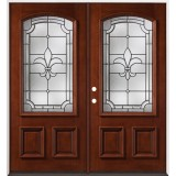 Fleur-De-Lis 3/4 Arch Mahogany Prehung Double Wood Door Unit #2020