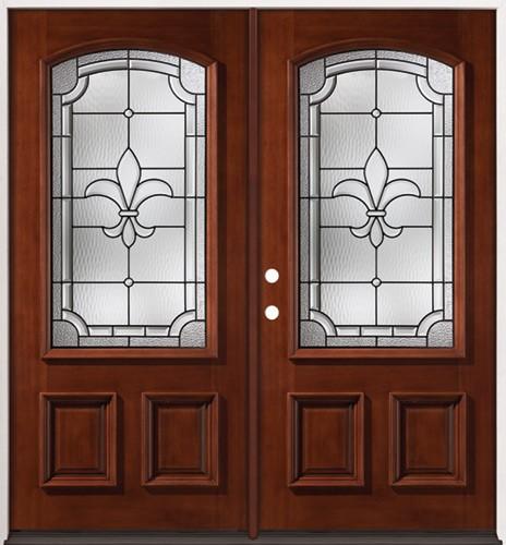Fleur-De-Lis 3/4 Arch Mahogany Prehung Double Wood Door Unit #2020