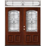 Fleur-De-Lis 3/4 Arch Mahogany Prehung Wood Double Door Unit with Transom #2020