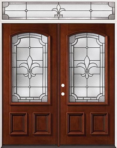 Fleur-De-Lis 3/4 Arch Mahogany Prehung Wood Double Door Unit with Transom #2020