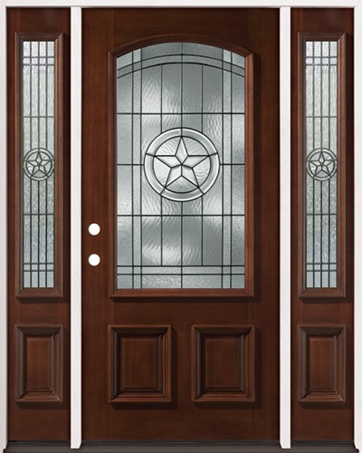 Texas Star 3/4 Arch Mahogany Prehung Wood Door Unit with Sidelites #2021