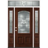 Texas Star 3/4 Arch Mahogany Prehung Wood Door Unit with Transom #2021