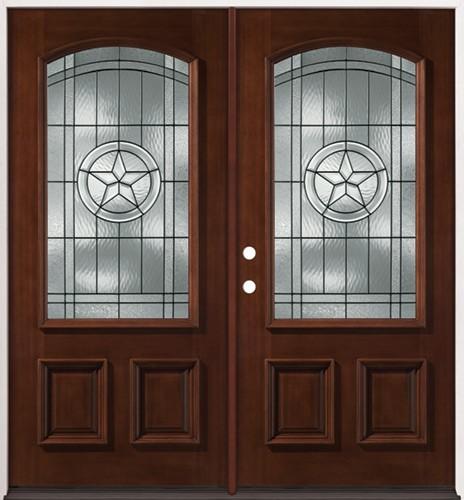 Texas Star 3/4 Arch Mahogany Prehung Double Wood Door Unit #2021