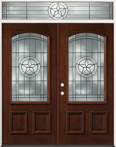 Texas Star 3/4 Arch Mahogany Prehung Wood Double Door Unit with Transom #2021