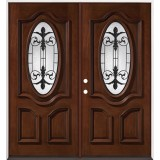 3/4 Oval Mahogany Prehung Double Wood Door Unit #2022