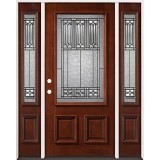 3/4 Lite Mahogany Prehung Wood Door Unit with Sidelites #2023
